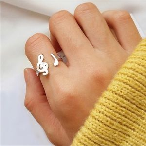 Adjustable Silver music note ring